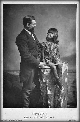 The Great Farini And Krao, circa 1885. Image: Wikipedia.