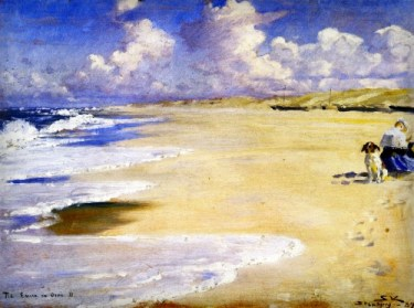 Peder Severin Kroyer: Marie painting On Beach At Stenbejerg 1889.