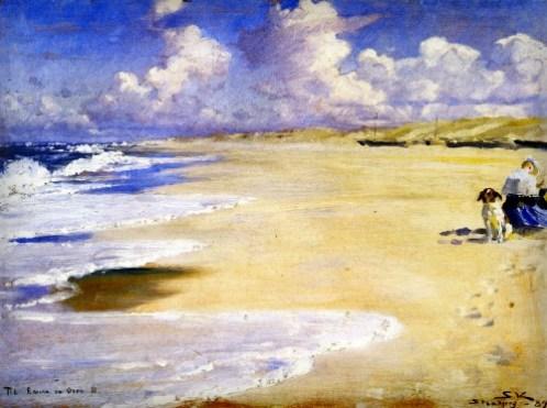 Peder Severin Kroyer: Marie painting On Beach At Stenbejerg 1889.