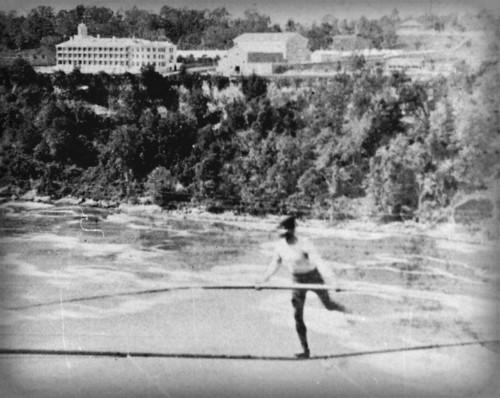 The Great Farini Crosses Niagara Falls, 1860. Image: Earl W. Brydges Public Library, Niagara Falls.