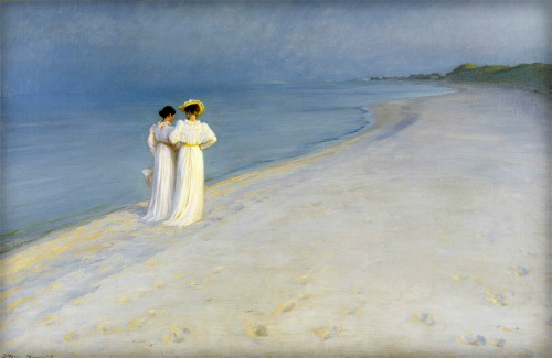 Peder Severin Kroyer, Summer Evening on the Skagen Southern Beach with Anna Ancher and Marie Krøyer, 1893. Image: Wikipedia.