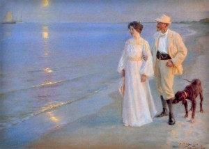 Peder Severin Kroyer: Summer Evening at Skagen Beach – The Artist and his Wife, 1899. Image: Wikipedia.