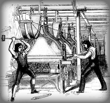 Luddite Frame Breaking, 1812. Image: Wikipedia.
