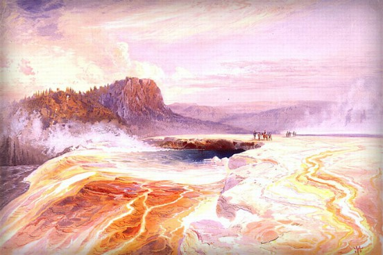 Thomas Moran Yellowstone Paintings: Great Blue Spring of Lower Geyser Basin. Image: Library of Congress.