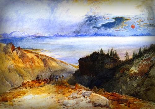 Thomas Moran Yellowstone Paintings: Yellowstone Lake, 1874. Image: Public Domain.