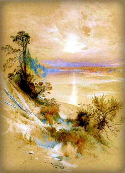 Thomas Moran Yellowstone Paintings: River Exit from Yellowstone Lake. Image: Public Domain.