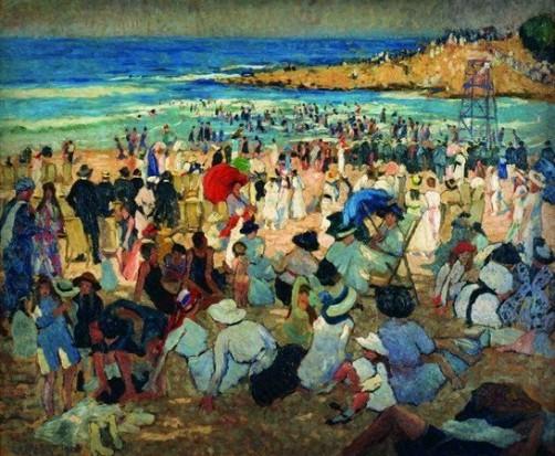 Ethel Carrick Fox, Manly Beach – Summer is Here, 1913. Image: Artnet.com.