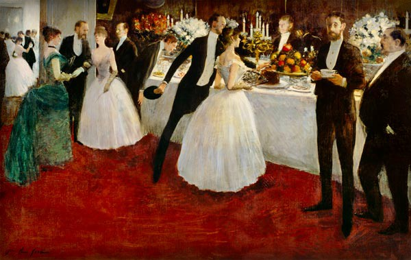 Victorian New Year, Nellie Bly: Jean-Louis Forain, The Buffet 1884. Image: Wikipedia.