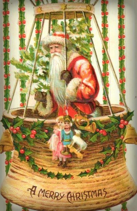 Victorian Santa Flies Hot Air Balloon. Image: Public Domain.