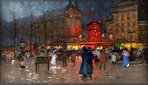 Moulin Rouge by Eugene Galien-Laloue, no date. Image: Wikimedia.