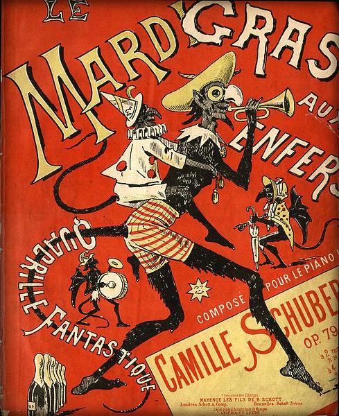 Victorian Era Mardi Gras Poster, 1910: Aux Enfers. Image: Wikimedia.