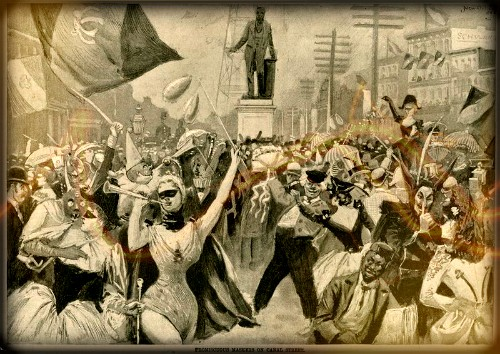Victorian Era Mardi Gras, Promiscuous Maskers Canal Street, 1893. Image: Wikimedia.