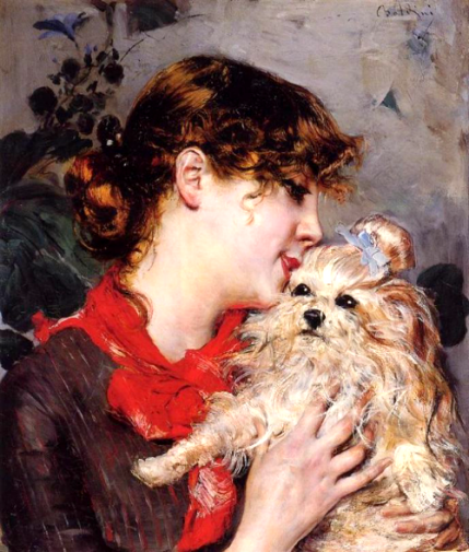 Actress Rejane and her Dog, 1885. Image: Wikipedia.