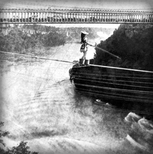 Maria Spelterini at Suspension Bridge. Image: Niagara Falls Public Library. George E. Curtis