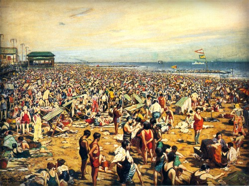 Beach Scene At Coney Island, 1891 by Harry Roseland. Image: Wikimedia.