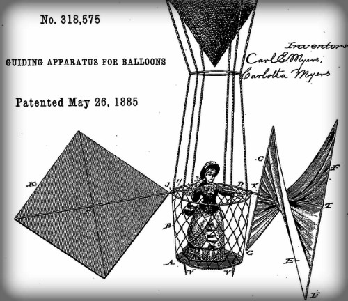 Aeronaut Mary Myers Patent Drawing of Woman In Gondola Supported from Balloon --Guiding Apparatus for Air Balloons, May 19, 1885. Image: Wikipedia.