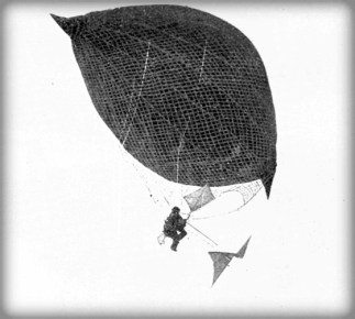 Gas Kite #1 or Aerial Velocipede, Jan. 1, 1881. Image: Popular Science Monthly #58, Wikipedia.