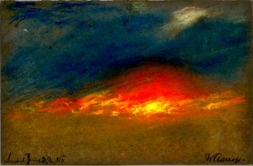 Victorian Era Krakatoa Eruption: Sky Study by William Ashcroft. Image: Royal Society Report.