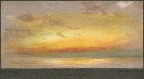 Brilliant yellow, orange and teal afterglow of sunset from London at 4:30 p.m. November 26, 1883- months after Krakatoa eruption.