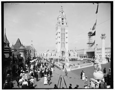 black and white photo of 4-story tower and steeple Coney Island: Tower. Image:W Library of Congress.