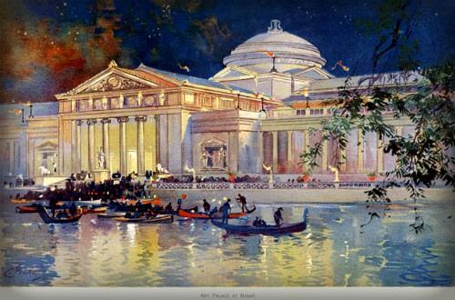 Columbian Exposition Lighting ;Art Palace At Night.Image: Wikimedia.