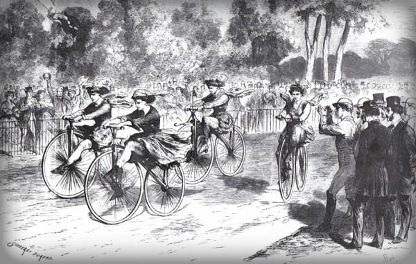 First Female Velocipede Racers, Le Monde Illustré, November 1868. Image: oldbike.eu.