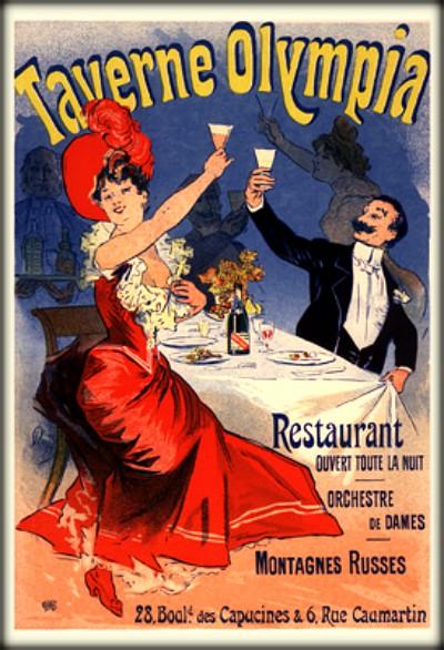 Jules Chéret Cherettes-Taverne Olympia Restaurant. Image: Wikipedia.