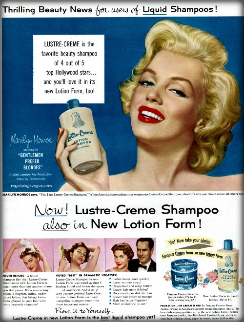 Marilyn Monroe; Lustre Creme Ad, 1953. Image: Wikipedia.
