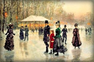 well dressed Victorian parents and young daughter ice skating