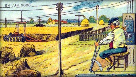 postcard illustration of victorian man operating mechanized farm machine