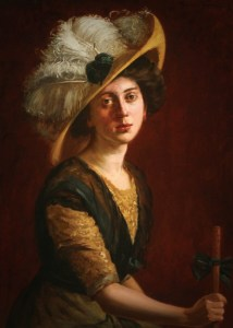 Portrait of a Woman in a feathered victorian hat And Parasol by Theodore Wores. Image: Wikipedia.