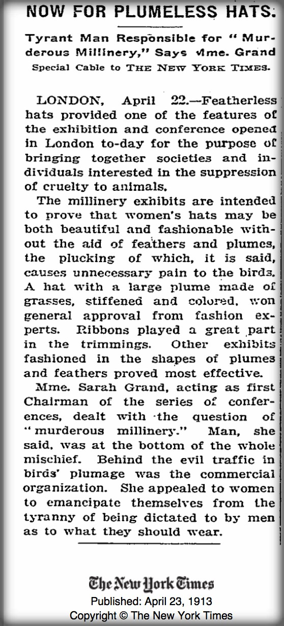 Early Female Conservationists: Article--Now For Plumeless Hats-April 23, 1913 fromNew York Times.