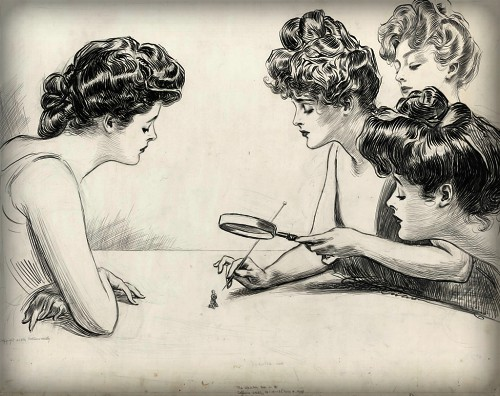 Dangerous Victorian Hatpins: Gibson Girls Magnifying Glass, 1903 by Charles Dana Gibson. Image: Library of Congress.