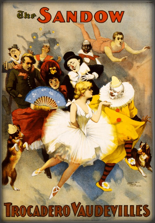 Full Color Poster With Drawings of Circus Performers in The Sandow Vaudeville Show
