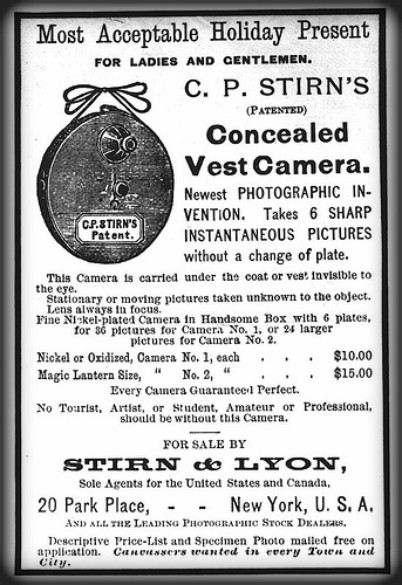 Victorian Era Spy Camera: black and white newspaper Advertisement with drawing of round camera. Image: http://camera-wiki.org.