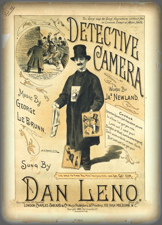 Dan Leno Music Sheet drawing of dan leno holding spy camera. Image: Science And Media Museum.