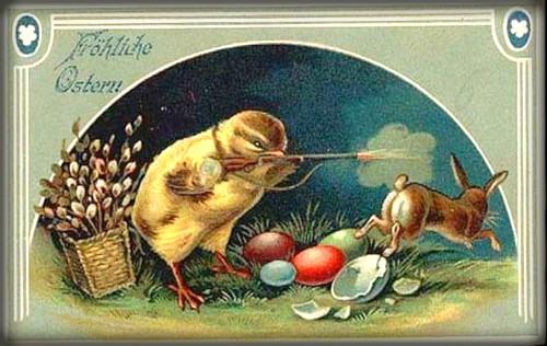 Easter Chick Shooting Easter Bunny. Image: BBC.com.