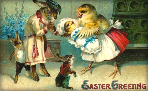 Quirky Victorian Easter Cards: Bunny and Chick Family. Image: BBC.com.