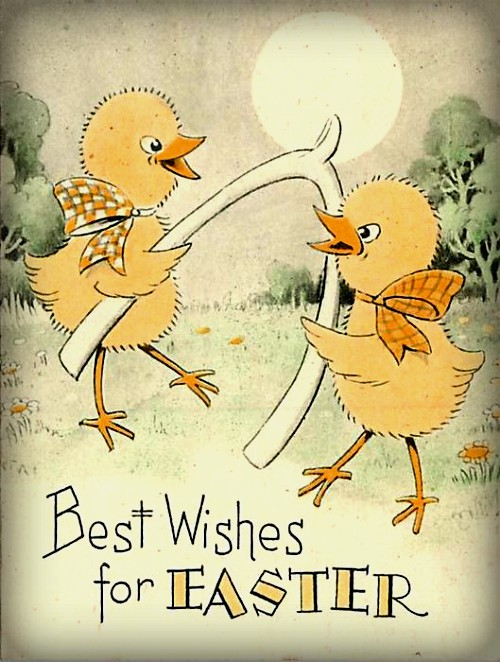 Easter Chicks With Wishbone. Image: Public Domain.