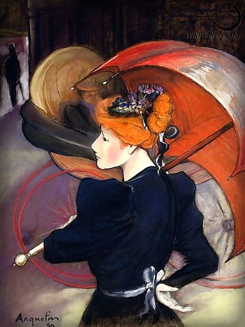 Victorian Umbrella Defense: Woman with Umbrella by Louis Émile Anquetin, 1890. Image: Wikimedia.