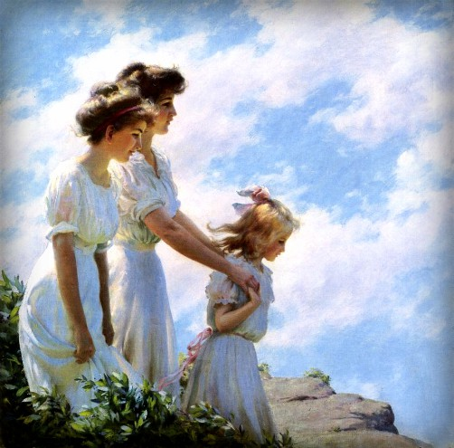 Charles Courtney Curran. Painting of Three Girls On The Cliff, 1910. Image: Wikipedia.