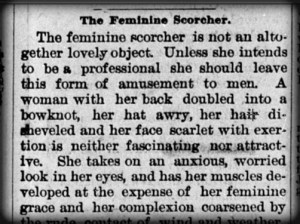 Female Scorcher, Saturday Evening Mail, 1896. Image: Newspapers.library.in.gov.