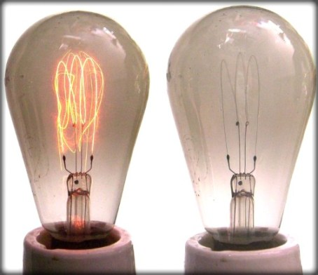 Incandescent Bulb With Carbon filament. Image: Wikipedia.