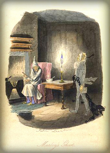 A Christmas Carol Spirit Illustration of-Marley's Ghost visits Scrooge by fireplace.1843. Image: Wikipedia.