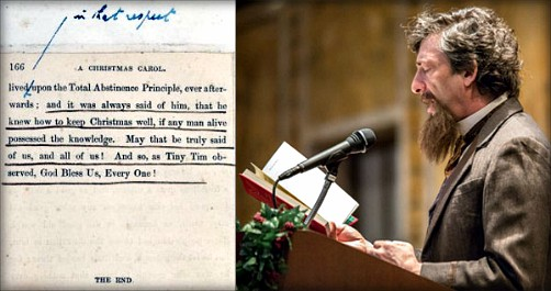 Neil Gaiman reads from Charles Dickens's prompt copy. Image: NYPL.org.