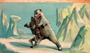 Illustration of Polar Bear Squeezing Man on Victorian Christmas Card