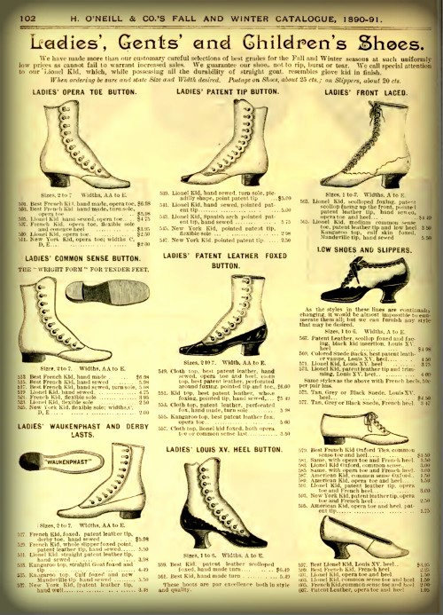 Oneill Boots and Shoes Ad, 1892. Image: Wikipedia.