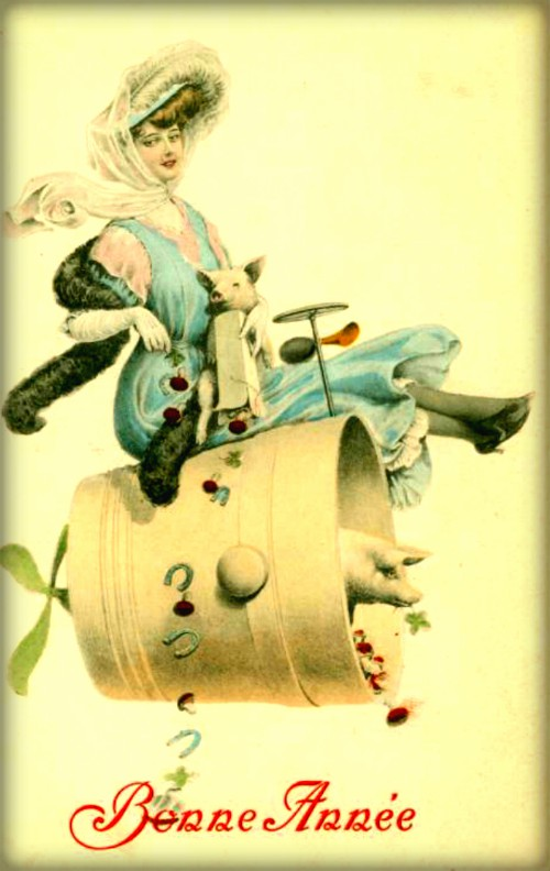 Happy New Year Victorian Card. Image: Wikipedia.