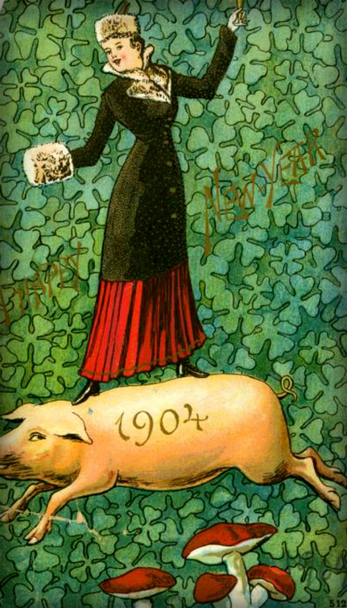 Lucky Victorian Pigs, 1904. Image: Wikipedia.