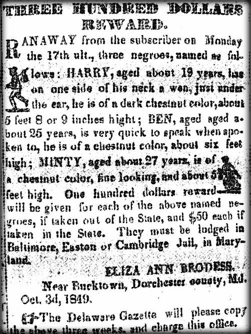 Harriet Tubman Reward Notice, 1849. Image: Widkpedia.